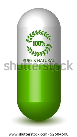 Pure & Natural Sign Pill (Vector) - stock vector