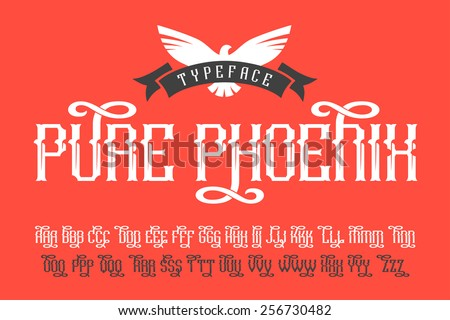 Pure Phoenix typeface with bird and ribbon badge - stock vector