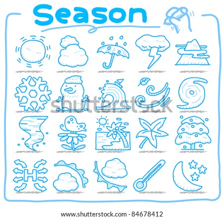 Pure series | hand draw season,weather icons - stock vector