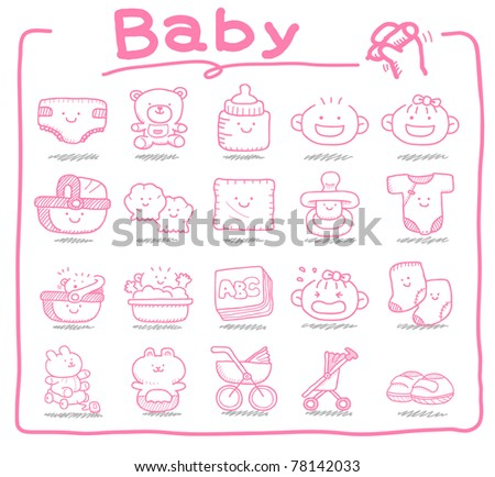 Pure series | hand drawn Baby icons - stock vector