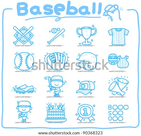 Pure series | Hand drawn baseball,sport icon set - stock vector