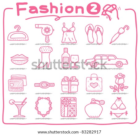 Pure series | hand drawn Beauty and fashion icons collection - stock vector