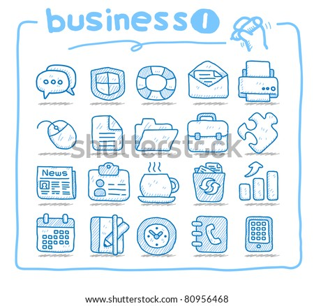 Pure series | Hand drawn business icon | series 1 - stock vector