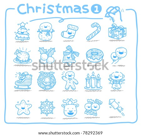Pure series | hand drawn Christmas icons - stock vector