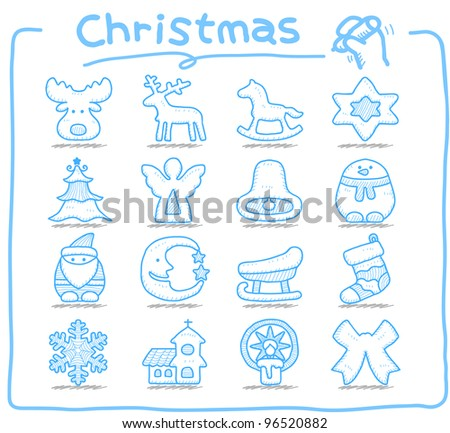 Pure series   Hand drawn Christmas,xmas,holiday icon set - stock vector