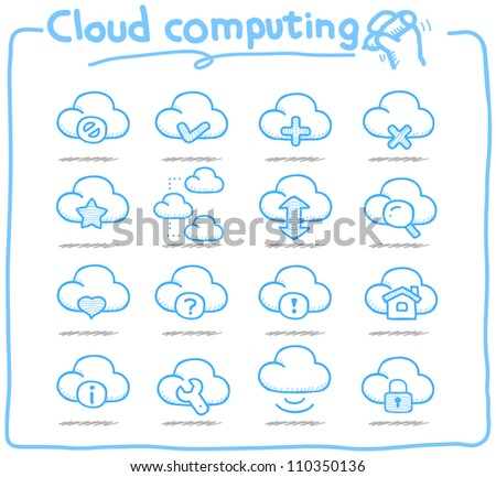 Pure Series | Hand drawn cloud computing  icon set - stock vector