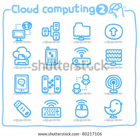 Pure series | Hand drawn Cloud device Icon - stock vector