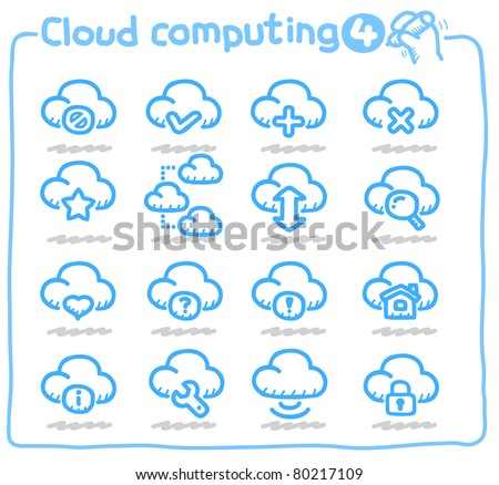 Pure series | Hand drawn Cloud network Icon - stock vector