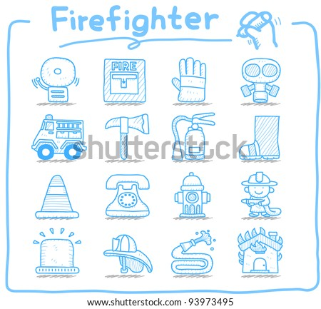 Pure series | Hand drawn firefighter,fireman,emergency icon set - stock vector