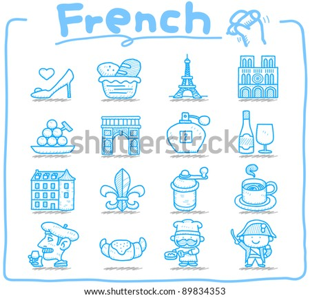 Pure series | Hand drawn French,Europe,travel,landmark icon set - stock vector