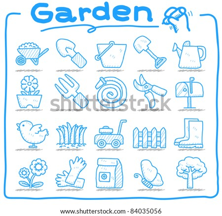 Pure series | hand drawn garden icon set - stock vector