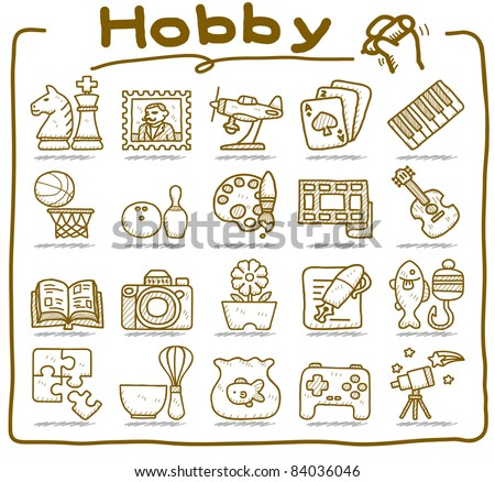 Pure Series | hand drawn Hobby, Leisure and Holiday Icons - stock vector