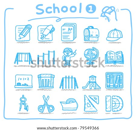 Pure series | Hand drawn icon set , Education and School - stock vector
