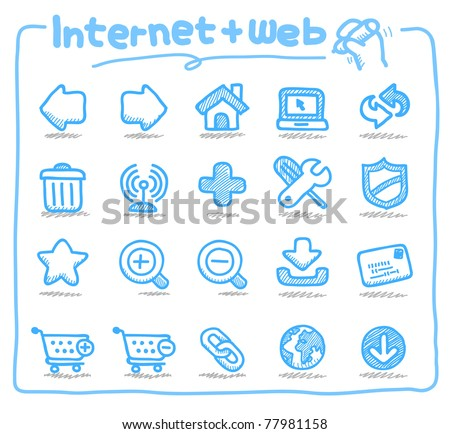Pure series | Hand drawn internet and web icons - stock vector