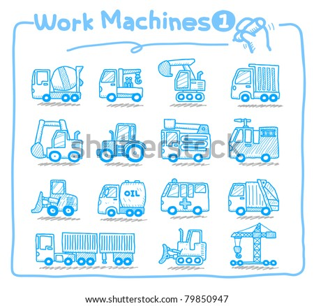 Pure series | hand drawn  Machine icons - stock vector
