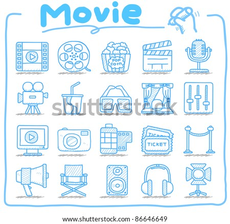 Pure series | Hand drawn movie icon set - stock vector