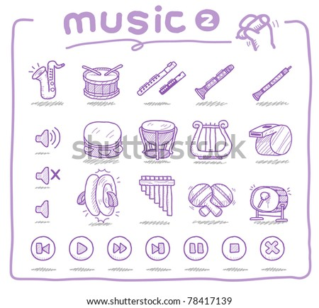 Pure series | Hand drawn musical instrument - stock vector