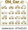 Pure series | Hand drawn old car icon set - stock vector