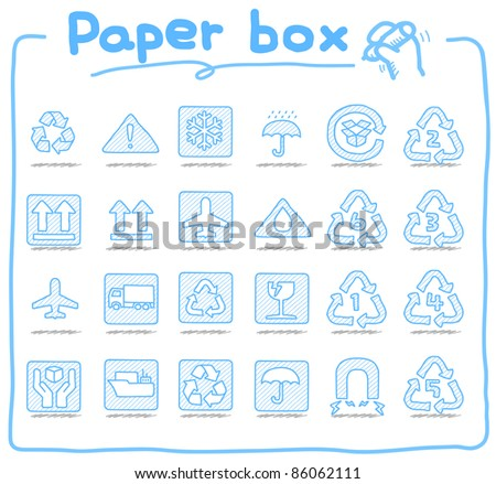 Pure series | hand drawn Paper box icons - stock vector