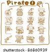 Pure series | Hand drawn pirate icon set - stock photo