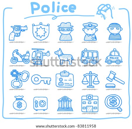 Pure series | hand drawn police , security icon set - stock vector