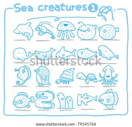 Pure series | Hand drawn sea creatures icon set - stock vector