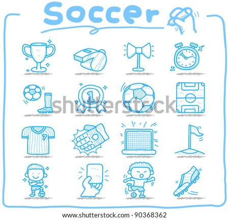 Pure series | Hand drawn soccer,sport icon set - stock vector