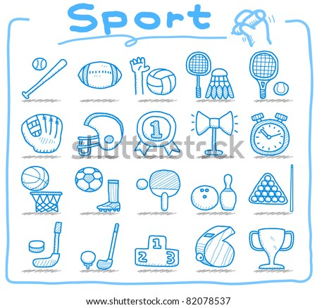 Pure series | hand drawn sport icon set - stock vector