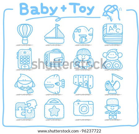 Pure series | Hand drawn Toy,baby icon set - stock vector