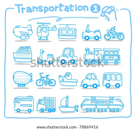 Pure series | hand drawn transportation icon,  Mode of Transport - stock vector