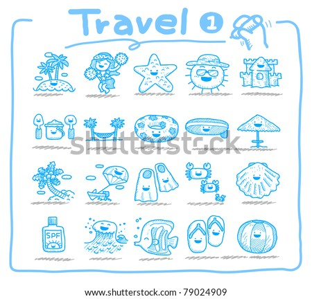 Pure series | Hand drawn  travel icon, vacation, trip - stock vector