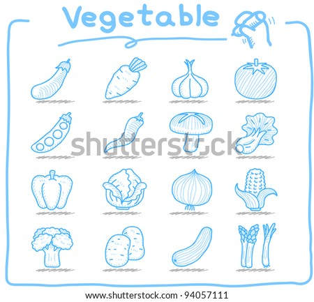 Pure series | hand drawn vegetable icons set - stock vector