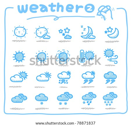 Pure series | Hand drawn weather icon, weather forecast - stock vector
