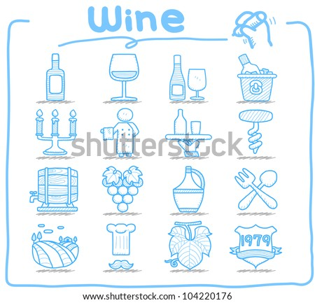 Pure Series | Hand drawn Wine icon set - stock vector
