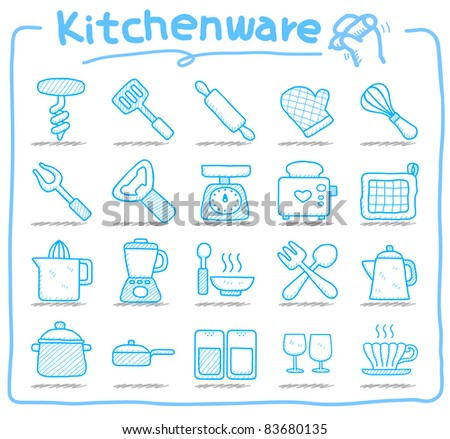Pure series | kitchenware icon set - stock vector