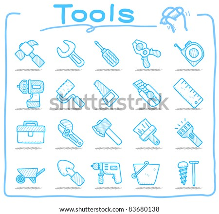 Pure series | tools icon set - stock vector