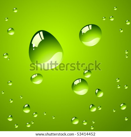 Pure water drops over green background