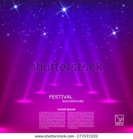 Purple abstract background with rays of spotlights. Vector illustration - stock vector