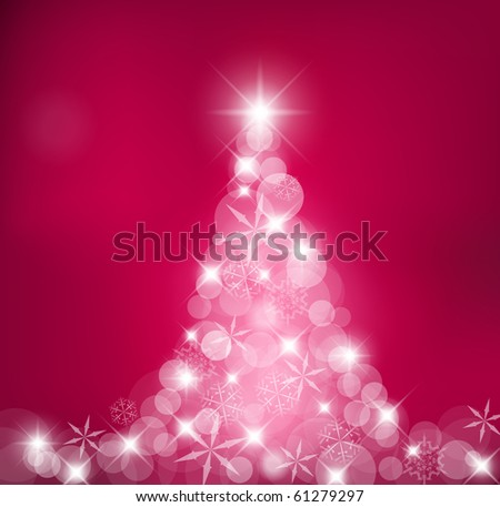 Purple Abstract Christmas tree made of light and snow flakes - stock vector