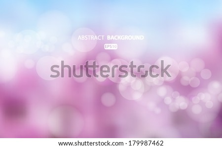 Purple and blue abstract blurred background with bokeh effect. Spring, nature, overcast. Vector EPS 10 illustration. - stock vector
