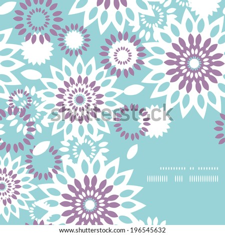 Purple and blue floral abstract frame corner pattern background - stock vector