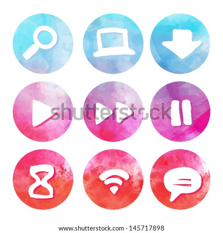 Purple and blue set of round watercolor icons, vector illustrations