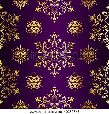 Purple-and-Gold seamless Christmas background (vector); a JPG version is also available - stock vector