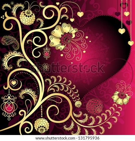 Purple and gold vintage valentine card with hearts and gold branch and flowers (vector EPS 10) - stock vector
