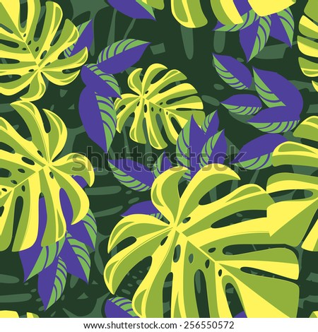 Purple and green tropical foliage pattern on green background - stock vector