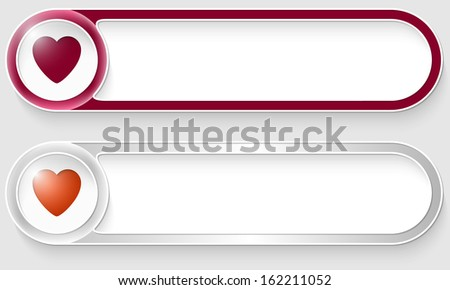 purple and silver vector abstract buttons with heart - stock vector