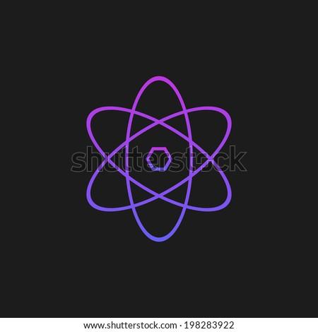 Purple atom on a black background - stock vector