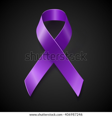 Purple awareness realistic ribbon over black background with drop shadow. Vector awareness symbol