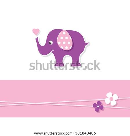 purple baby girl elephant greeting card - stock vector