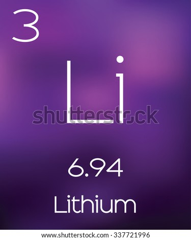 Purple Background with the Element Lithium - stock vector
